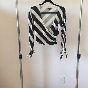 Topshop Striped Splice Blouse